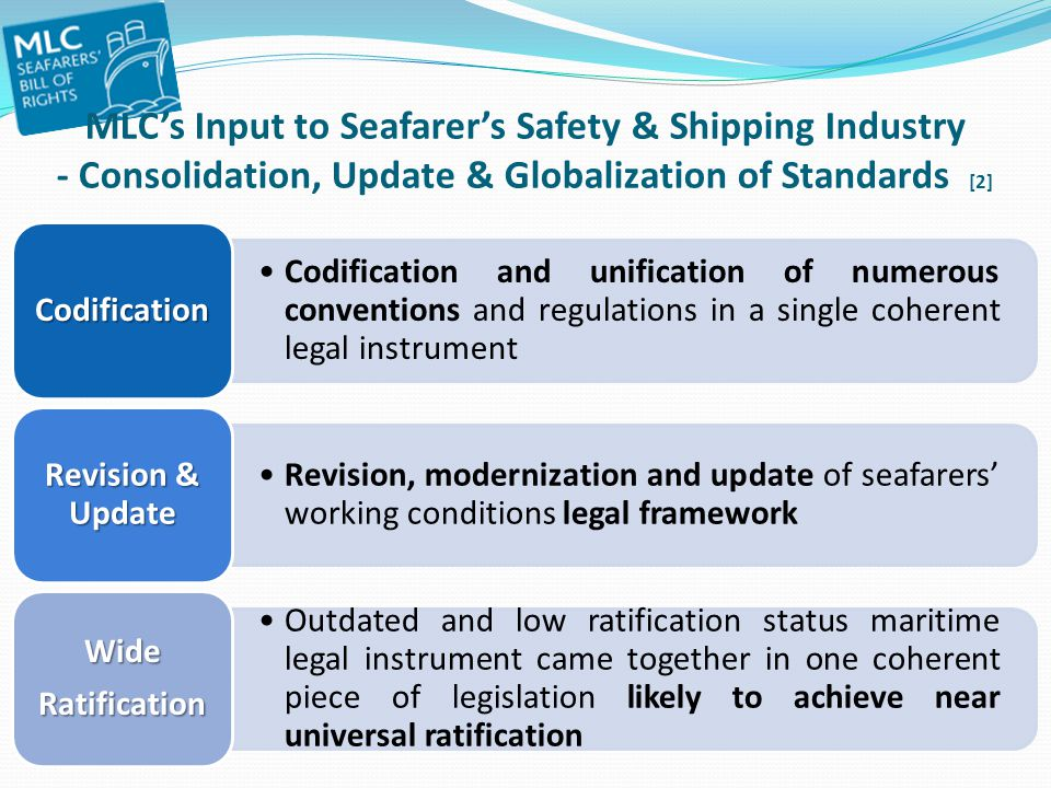MLC's Input to Seafarer's Safety & Shipping Industry - Consolidation, Update & Globalization of Standards [2]